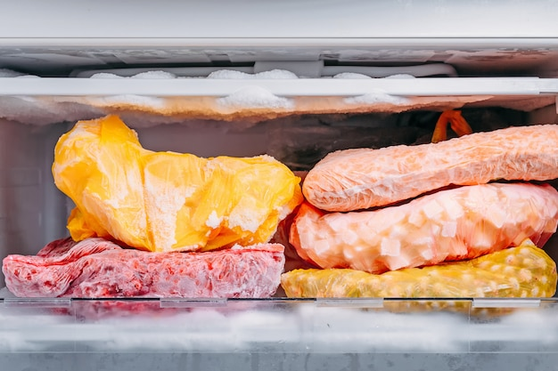 Tipo diferente de legumes congelados em sacos de plástico em uma geladeira
