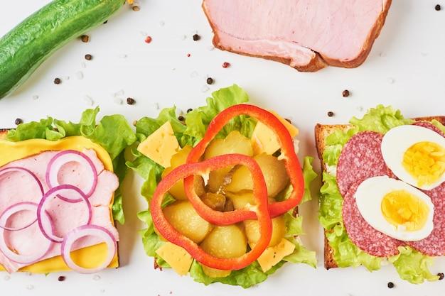 Tipo diferente de sanduíche e ingredientes em um fundo branco, vista superior