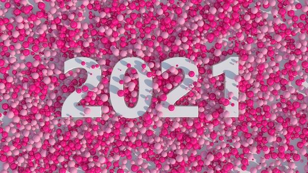 Tipografia 2021 branca. bolas rosa brilhantes. ilustração abstrata, renderização 3d.