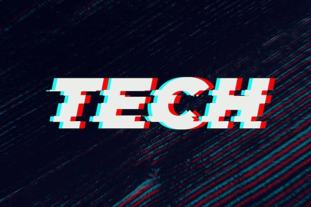 Tipografia de falha de tecnologia em fundo preto