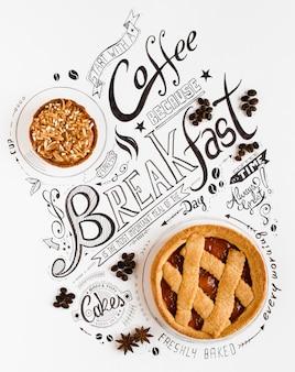 Tipografia de mão desenhada café da manhã lettering