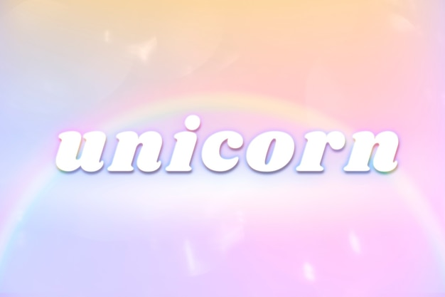 Tipografia estética de unicórnio em fonte colorida e brilhante de arco-íris