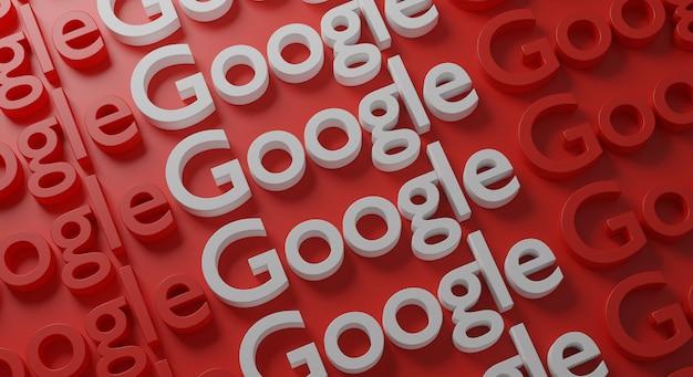 Tipografia múltipla do google na parede vermelha
