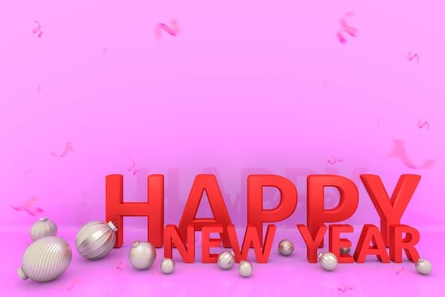 Tipografia vermelha feliz ano novo com bola de natal e confetes em fundo rosa., renderização em 3d.