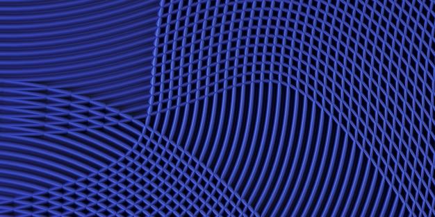 Tira de cor azul profundo linhas curvas fundo. ilustração de renderização 3d.