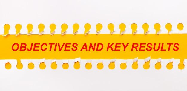 Tira de papel rasgada em fundo amarelo com o texto objetivos e principais resultados