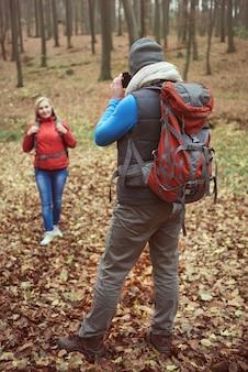 Tirando fotos no lindo lugar