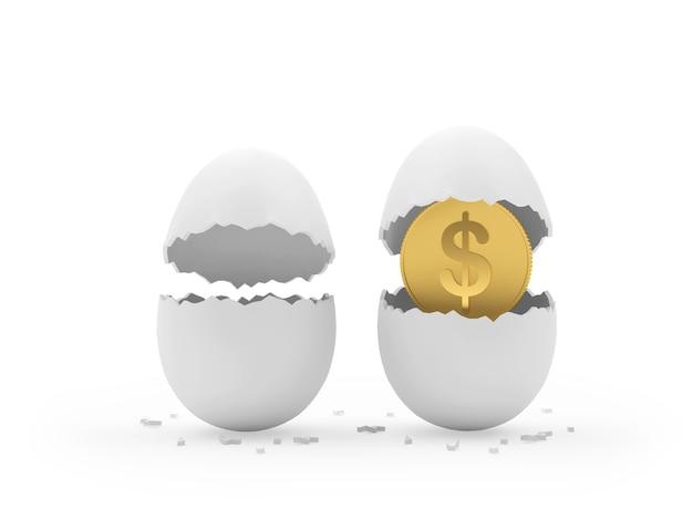 Tirando uma moeda de um dólar dos ovos