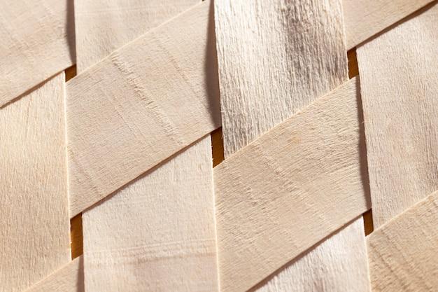 Tiras de madeira em close-up
