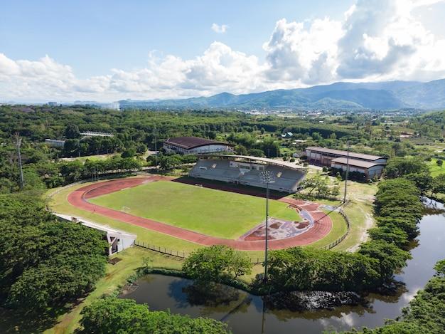 Tiro aéreo, de, futebol, estádio