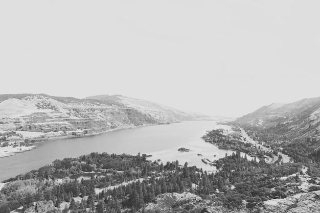 Tiro aéreo em escala de cinza de uma bela paisagem com um lago e pinheiros nas montanhas