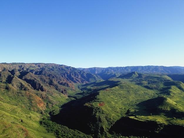 Tiro de ângulo alto das magníficas montanhas cobertas de árvores sob o céu azul