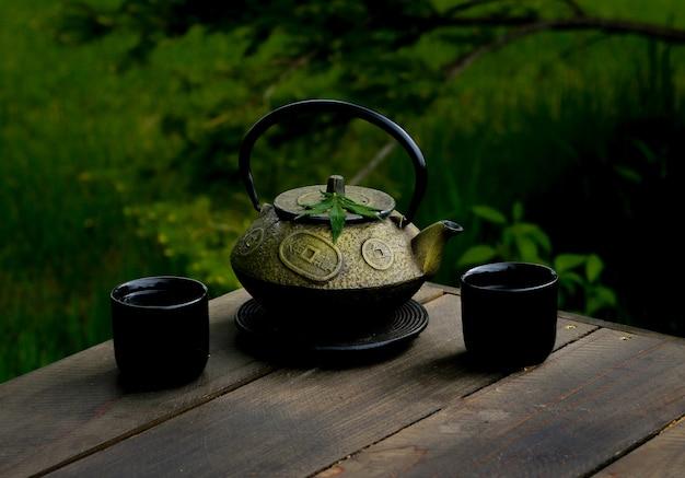 Tiro de foco seletivo closeup de um bule de folhas asiático decorativo com velhos hieróglifos