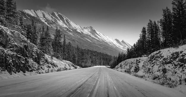 Tiro em escala de cinza de uma estrada no meio de montanhas nevadas