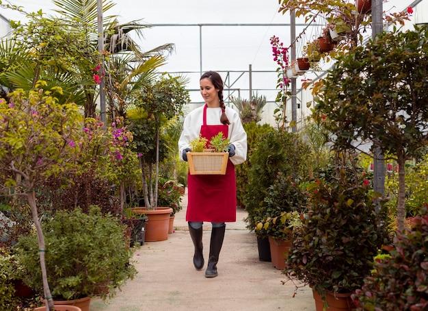Tiro longo mulher vestindo roupas de jardinagem e segurando cesta em estufa