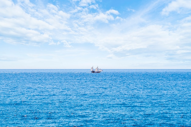 Tiro longo, veleiro, ligado, a, mar
