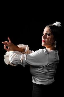Tiro médio, de, flamenca, dançar