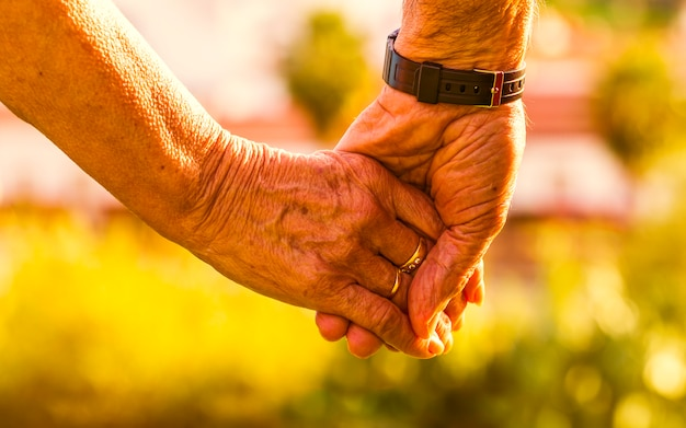 Tiro recortado de casal de idosos de mãos dadas ao ar livre ao pôr do sol
