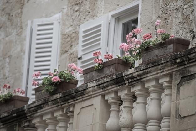 Tiro seletivo de flores cor de rosa em vasos na varanda de uma casa com paredes de pedra e janelas brancas