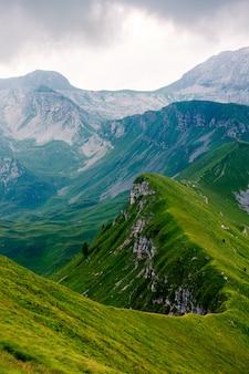 Tiro vertical bonito de um pico de montanha longo coberto na grama verde. perfeito para um papel de parede