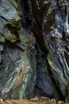 Tiro vertical das formações rochosas naturais cobertas de musgo no município de skrad na croácia