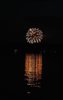 Tiro vertical de belas grandes fogos de artifício à distância, com reflexo na água