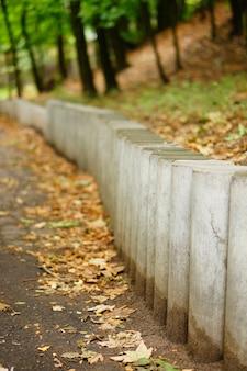 Tiro vertical de foco seletivo de blocos de cimento cilíndricos no parque