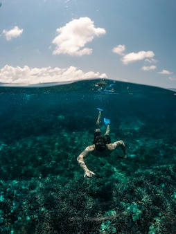 Tiro vertical de macho nadando debaixo d'água com o céu ao fundo