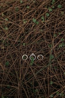 Tiro vertical de três anéis colocados em uma superfície de pequenos galhos estreitos de madeira