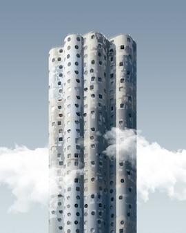 Tiro vertical de um arranha-céu exótico de arranha-céus sob o céu azul