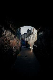 Tiro vertical de um caminho no meio de paredes de tijolo com graffiti neles