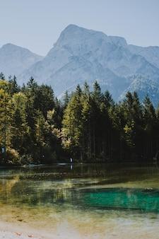 Tiro vertical de um lago congelado que brilha sob o sol quente, rodeado por árvores e montanhas