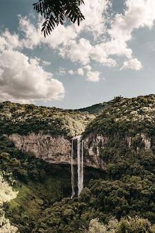 Tiro vertical de uma cachoeira que flui de um penhasco alto coberto de árvores verdes