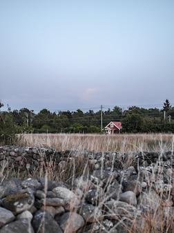 Tiro vertical de uma casa de campo solitário em um campo com floresta e rochas em primeiro plano