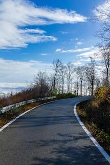 Tiro vertical de uma estrada estreita que leva à montanha medvednica em zagreb, croácia