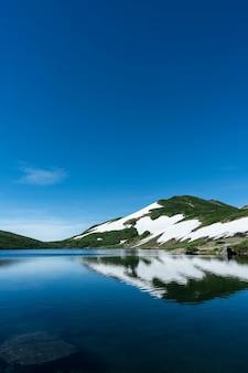 Tiro vertical de uma montanha nevada e arborizada perto da água com um céu azul ao fundo