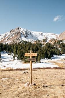 Tiro vertical de uma placa de madeira com árvores e montanhas nevadas ao fundo, sob um céu claro