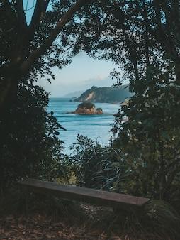 Tiro vertical do banco cercado por árvores e plantas com vista para o mar e uma rocha à distância
