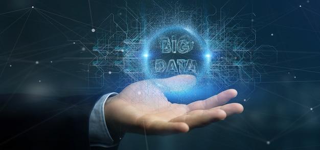 Título de dados grande de partículas segurando por um empresário