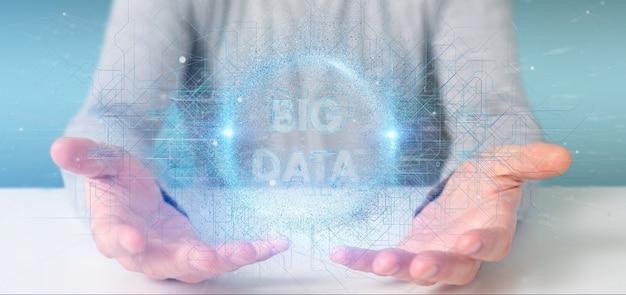 Título de dados grandes partículas segurando por um homem