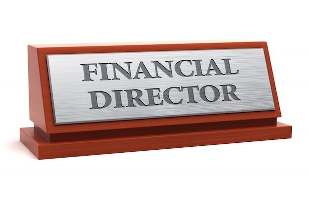 Título do cargo de diretor financeiro na placa de identificação