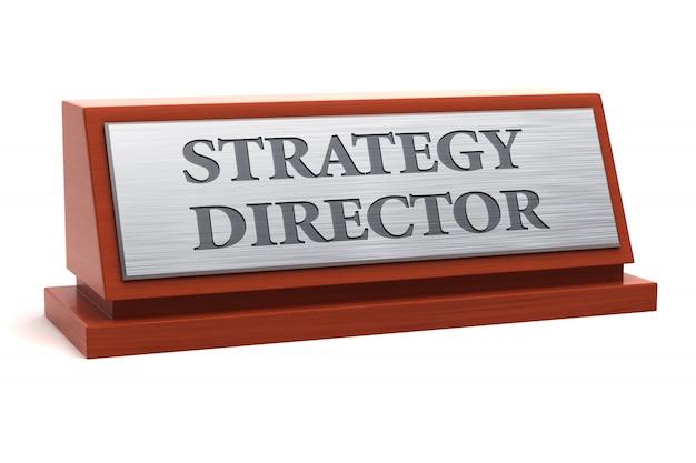 Título do diretor de estratégia na placa de identificação