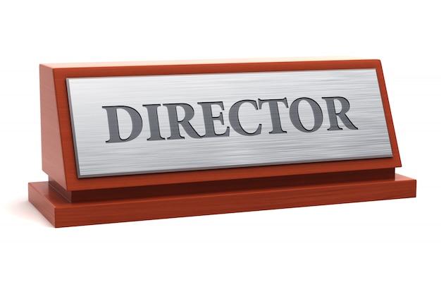 Título do diretor na placa de identificação