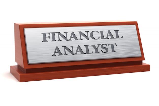 Título do trabalho do analista financeiro na placa de identificação