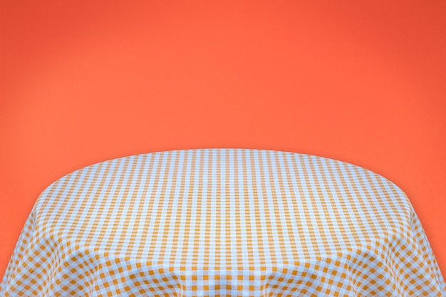 Toalha de mesa laranja com fundo laranja. fundo para texto simples ou produtos