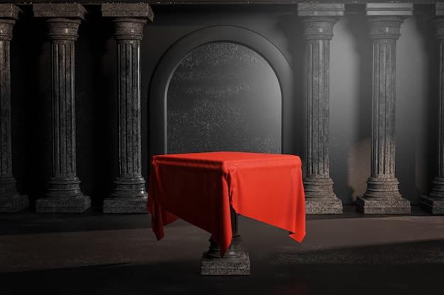 Toalha de mesa vermelha brilhante porta brilhante preto clássico colunas pilares colonade renderização em 3d