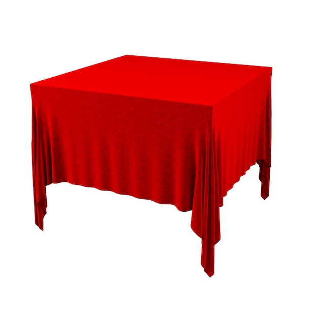 Toalha de mesa vermelha vazia isolada no fundo branco. ilustração 3d.