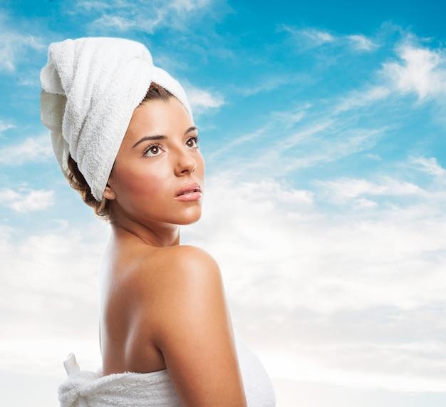 Toalha de saúde modelo de pele saudável