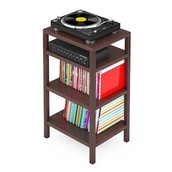 Toca-discos de vinil, amplificador de mixagem estéreo hifi e syack de disco antigo de vinil com suporte de madeira em um fundo branco. renderização 3d