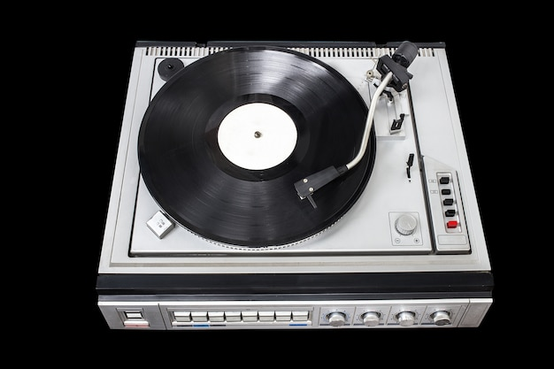 Toca-discos vintage com sintonizador de rádio